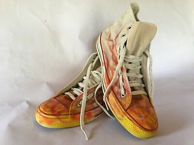 Converse Chuck Taylor Vintage Made In USA White Sz 10 Hi All Star Flames Custom