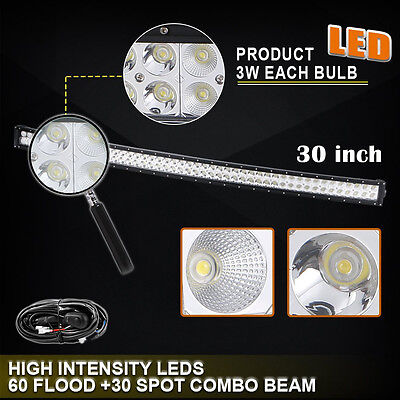 30 inch LED Work Light Bar Curved Off Road Truck Boat Ford Jeep SUV UTE 4X4 32