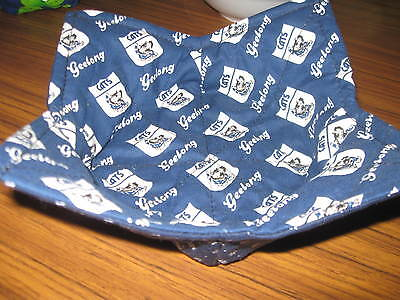 microwave bowl pot holder-warmer geelong print 10 inch reversible-aussie made.