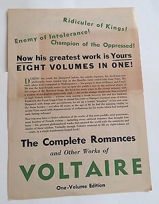 """Original Vintage """"The Collected Works of VOLTAIRE"""" Ad 1930's."""