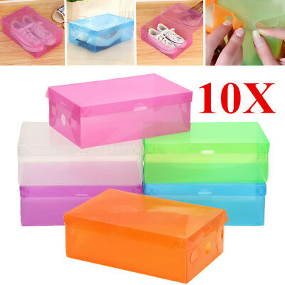 10Pcs Clear Plastic Foldable Stackable Shoes Storage Box Case Boots Organiser