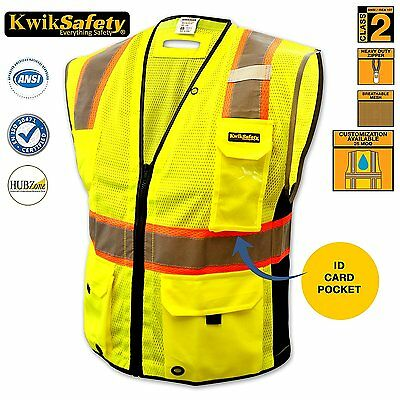 ALL SIZES ANSI Class 2 High Vis Reflective Safety Vest Clear ID pocket Yellow