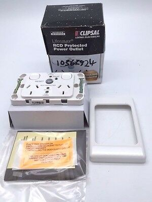 Clipsal 2025RCD10 White RCD Protected Twin Switched Socket Outlet 10A 240V 10mA