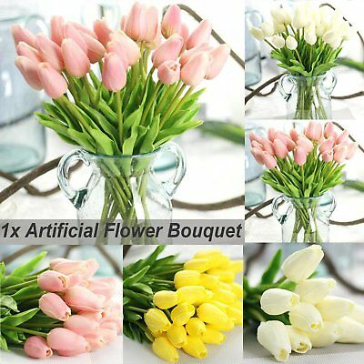 1x Artificial Flowers Bouquet 10 Head Tulip Leaves Wedding Home Party Decoration