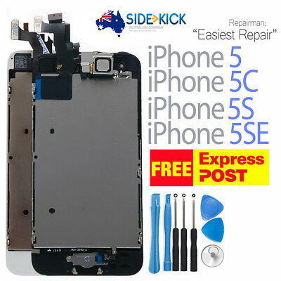 iPhone 5 5S White LCD Screen Digitizer Assembly Replacement + Home Button Camera