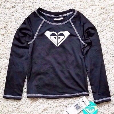 NWT MSRP $ 36.00 Roxy whole Hearted 5T Long Sleeve Rash Guard UPF 50+ Black