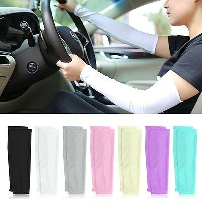 Sun UV Protection Stretch Arm Long Sleeves Sun Covers Cycling Golf Driving AU