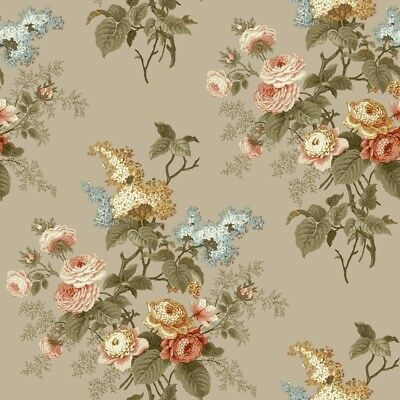 York Wallcovering Waverly Cottage Emmas Garden Taupe Peach White Aqua Wallpaper