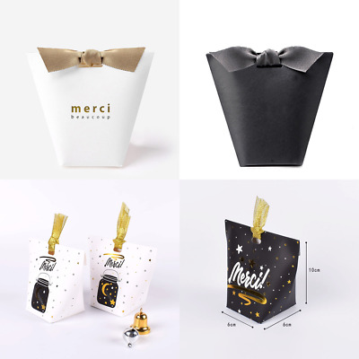 5-100X White Black Merci Beaucoup Party Paper Wedding Favour Gift Sweets Boxes