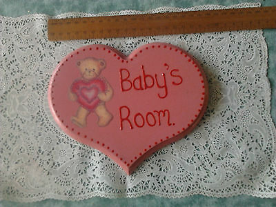 Baby plaque wall hanging home decor teddy bear timber decoupage