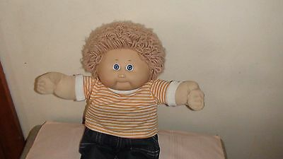 Vintage Boy Cabbage Patch Kid, blue eyes, fawn wool hair & tooth 1980s