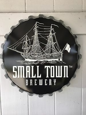 Small Town Brewery Tin Bottle Cap Sign ! 19inch Across Nice! Not your Fathers 👍