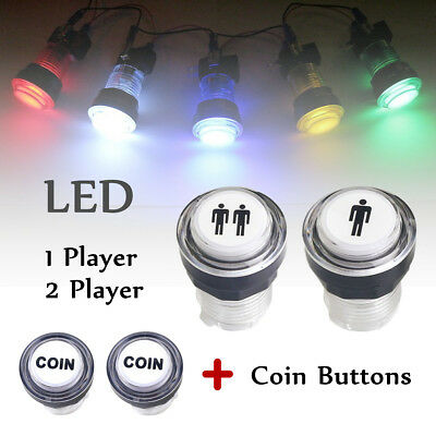 4 x LED Arcade Start Push Button Kit Part 1 Player + 2 Player + LED Coin Buttons