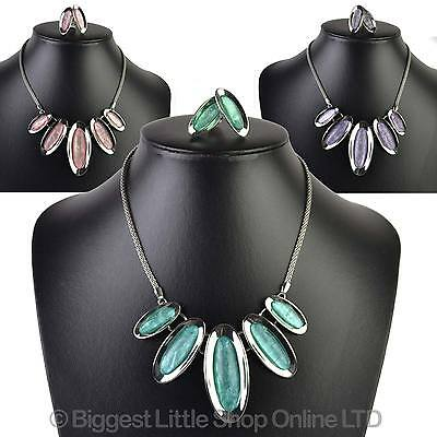 NEW Ladies Elegant Oval Pastel NECKLACE & Clip on EARRING Set Evening Summer