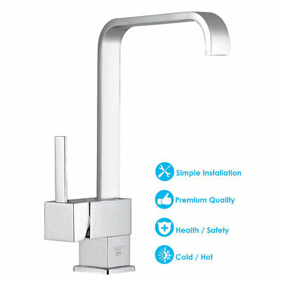 Watermark WELS Kitchen Faucet Square Swivel Basin Sink Mixer Tap Chrome Brass