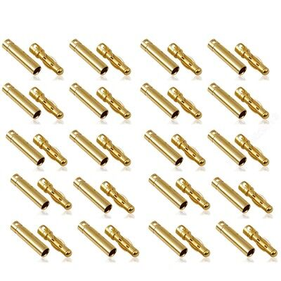 20 Pairs 4mm Gold-plated Female Male Banana Plug Motor Electronic Connector