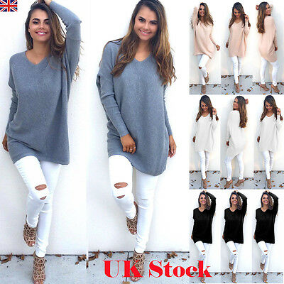 UKWomens V Neck Knitted Oversized Pullover Sweater Jumper Casual Tops Dress 6-20