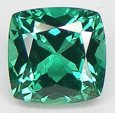 EXCELLENT CUT CUSHION 7x7 MM. LAB CREATED NANOCRYSTAL EMERALD