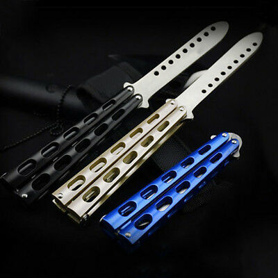 Foldable Stainless Steel Trainer Butterfly Cutter Balisong Practice Blunt Blades