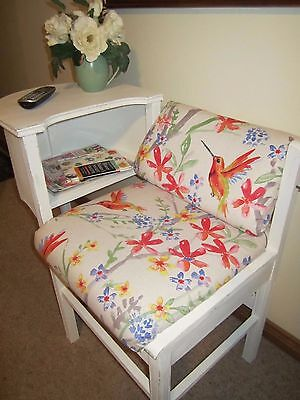 Vintage Shabby Chic Telephone Table with Upholstered Seat & Storage
