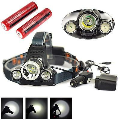12000 LM 3x CREE XML T6 LED Headlamp Headlight Rechargeable Head Torch Hiking TO
