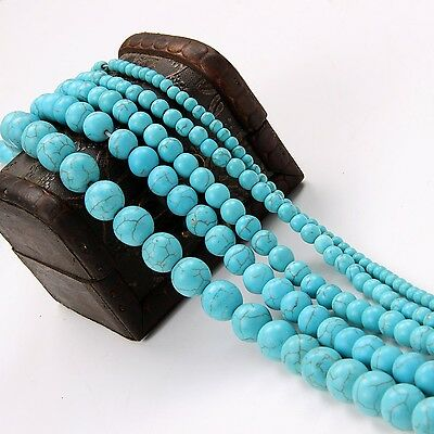 Wholesale Blue Turquoise Natural Gemstone Spacer Loose Beads Jewelry 4/6/8/10MM