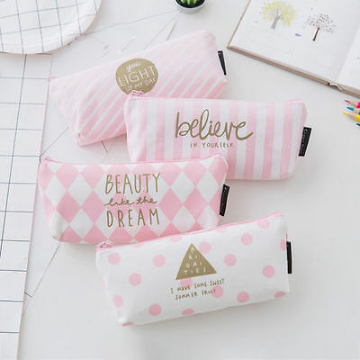 Yoocart Cute Canvas Student Pencil Case Makeup Pouch Cosmetic Pencil Bag