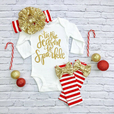 Xmas Kid Baby Girl Clothes Jumpsuit Romper Bodysuit Leggings Headband Outfit Set