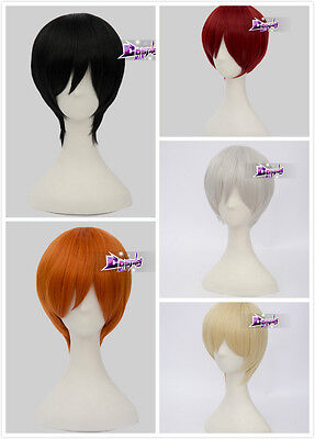 6 Colors Fashion Unisex 12'' Short Straight Anime Cosplay Wig +Free Cap