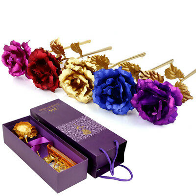 24K Gold Plated Rose Flower Valentine's Day Birthday Romantic Gift With Box