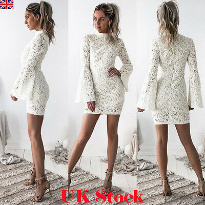 UK New Womens Bandage Bodycon White Lace Evening Party Cocktail Short Mini Dress