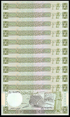 Lot of 10Pcs Middle East -SY 5 Pounds Paper Money,1991,P-100e,Uncirculated