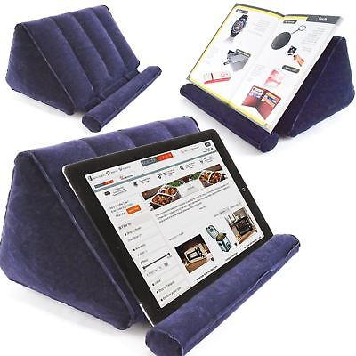 Inflatable Travel Tablet Book Holder Stand Rest Blue Camping Bedtime Bed Reading