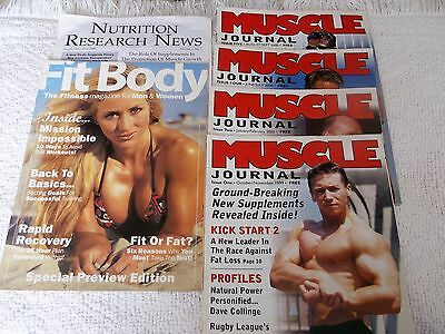 MUSCLE JOURNAL MAGAZINES x 4 Nos 1, 2, 4 & 5 + 1 x FIT BODY & 1 x NUTR.RES NEWS
