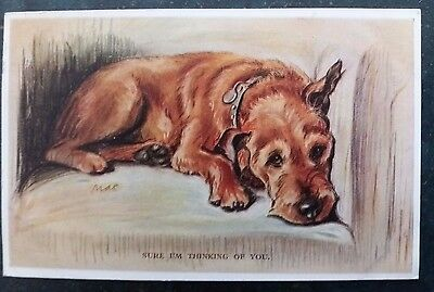 "Lucy Dawson ""Mac"" Irish Terrier Dog Tailwagger Postcard by Valentine's 1930s"