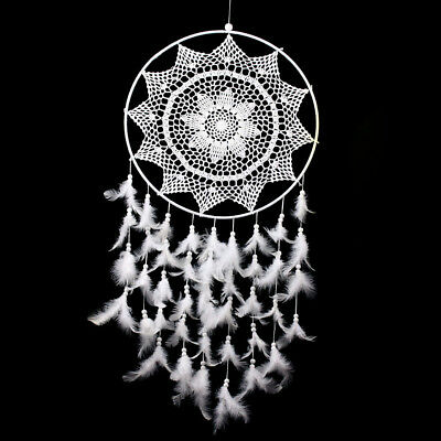 """Large White Handmade Dream Catcher 36.6"""" Feathers Hanging Decoration Room"""