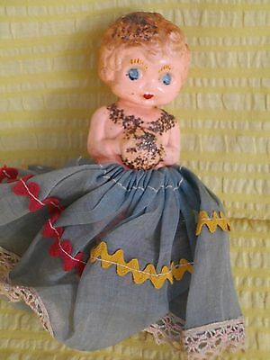 VINTAGE GENUINE 1920s CELLULOID KEWPIE DOLL AND COSTUME