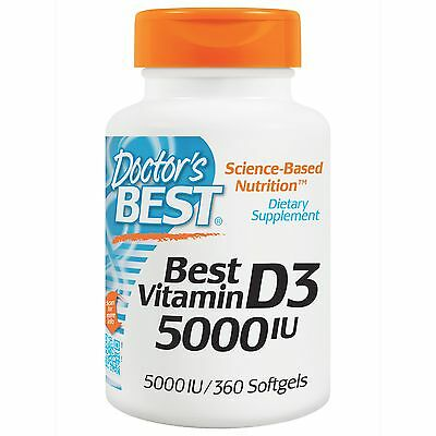 Doctor's Best, Best Vitamin D3, 5000 IU, 360 Softgels   cholecalciferol