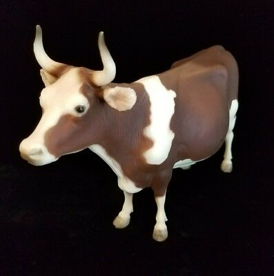 Vintage Breyer 344 Horned Ayrshire COW 1972 1973 Red White USA RARE Animal