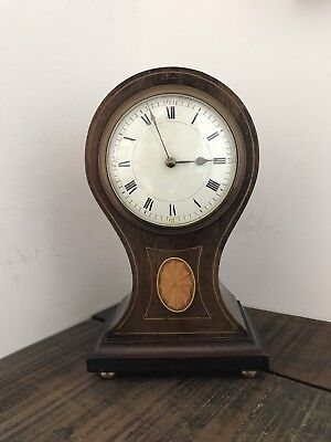 Edwardian Balloon Case Mantle Clock, 8 Day French Movement, Enamel Face. Working