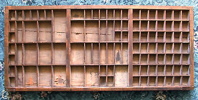 Letterpress Printing VERY OLD WOODEN TYPECASE with wood shrinkage split in base