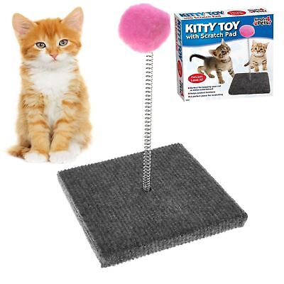Cat Kitty Pet Spring Moving Play Toy With Scratcher Scratching Pad Ball Toy Game