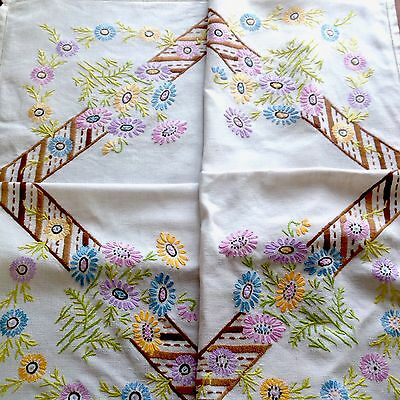 Vintage Hand Embroidered Off White Linen Tablecloth 32x34 Inches