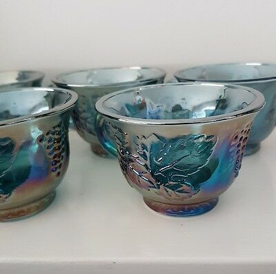 Carnival  Glass blue x6 punch cups
