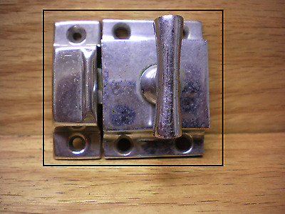 Antique Chrome Over Brass Jelly Cupboard Cabinet Latch #2
