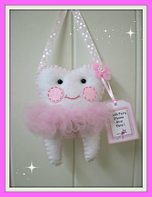 Tooth Fairy Pillow -  Pink spot ribbon Handmade -Lost Tooth Goes In Back Pocket