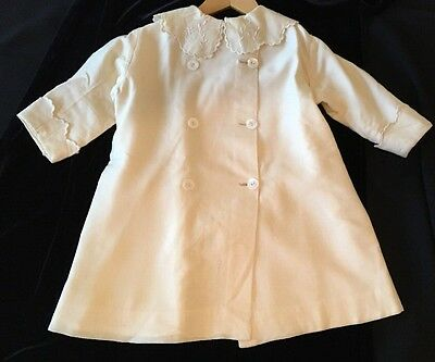 Antique Vintage Child's Spring Dress Coat Yellow Embroidered Buttons ~A Treasure