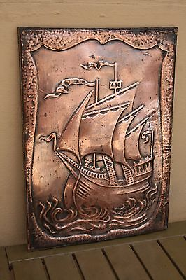 Arts & Crafts Copper Plaque Of Galleon
