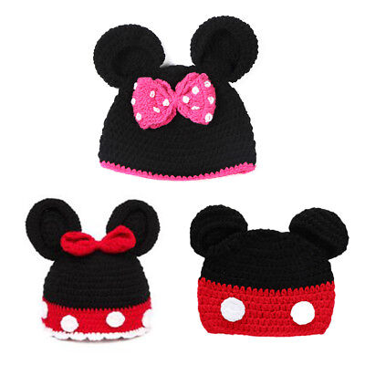 Minnie Mickey Mouse Ears Baby Knit Cute Cartoon Hat Photo Prop Winter Beanie Cap