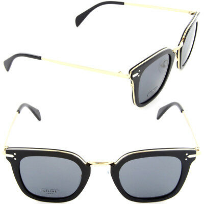 NEW CELINE (CL41402/S) ANW G8 Black-Gold Square Sunglasses W/ Case RP $550